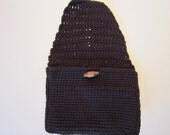 Crocheted Walker Bag Black Small Tote Caddy Organizer Mobility