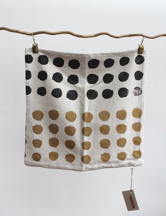 Dot handprinted hemp pillow cover 20 x 20 in gold & black