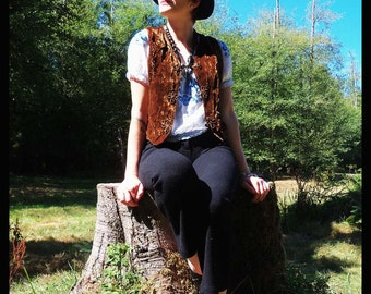 90s BOHEMIAN Brown Velvet Vest with Knot detail, Medium