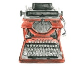 typewriter watercolor giclee print - 8x10 // Vintage Typewriter Illustration // office art // wall decor