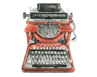 typewriter watercolor giclee print // Vintage Typewriter Illustration // office art // wall decor