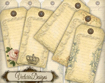 Vintage blank tags printable paper craft art gift tag hobby crafting scrapbooking instant download digital collage sheet - VD0185