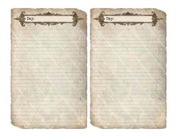 Printable Diary Pages Journal Pages Vintage Old Tattered