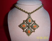 Vintage Brass Chain - Retro Double Link Chain - Boho Brass And Orange Colored Necklace