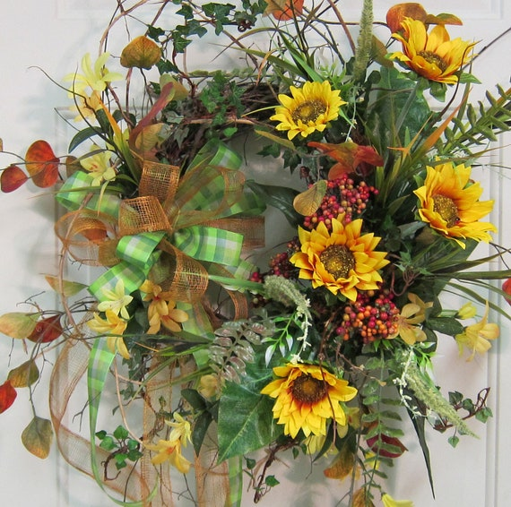 Colorful Fall Door Wreath With Sunflowers, Berries, and Double Ribbon Bow