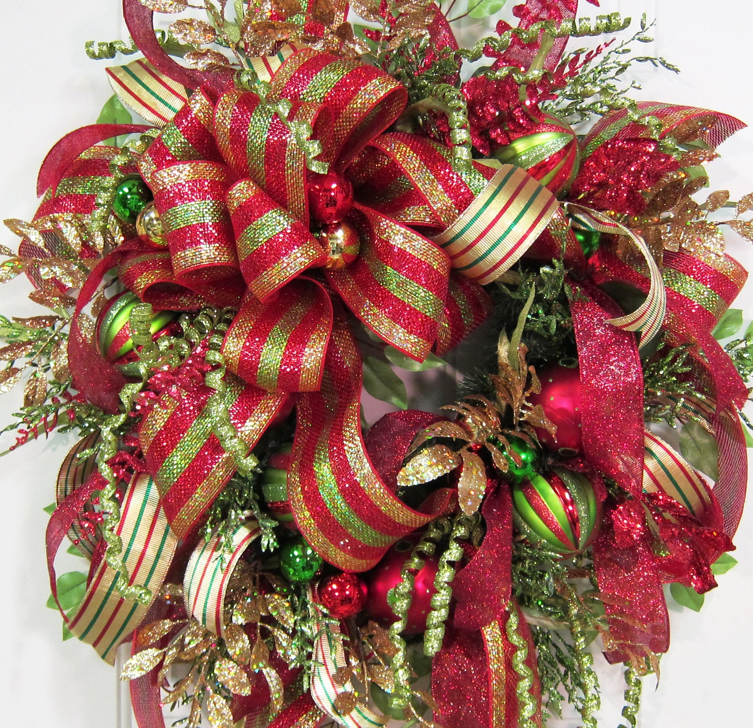 XXL Christmas Wreath With Deco Mesh And Gold Stripped Ribbon