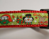 Christmas Dog Collar- Owl, Snowman, Reindeer Red & Green 3/4 inch wide