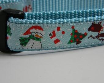 Christmas Dog Collar- Snowman, Reindeer, Trees Blue 3/4 inch wide