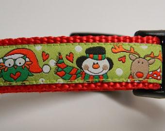 Christmas Dog Collar- Owl, Snowman, Reindeer Red & Green 3/4 inch wide