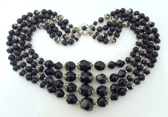 Multi Strand Necklace - Black Beads, 1950s Japan