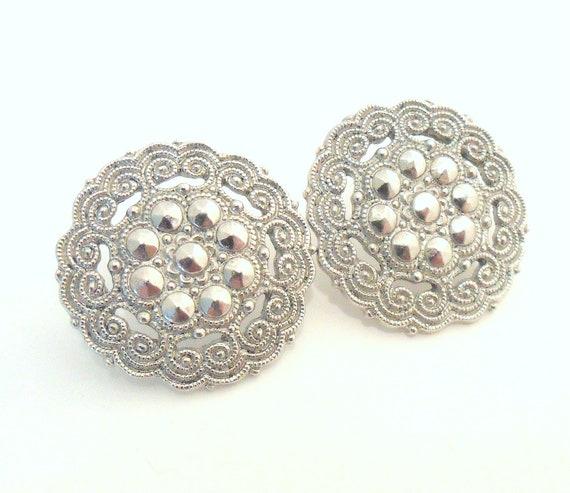 Victorian Style Earrings - Pierced - Silver Tone