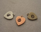 Add On Heart charm, 11x10 mm, Initial charm, Antique Silver, bronze or copper plated heart charm