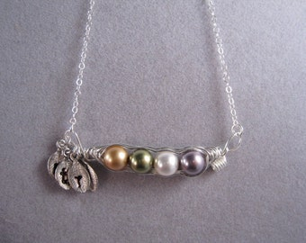 Peapods, Sideway peas in a pod, Personalized, initial silver leaf,  Mother in Law, for Mom, Friends, Sister in Law