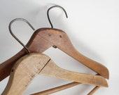 Vintage Wooden Hanger Coat Clothes Hangers 2 Heavy Old