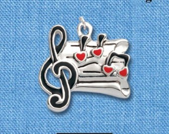 1 Silver Plated Charm Pendant, Music STAFF  che0263