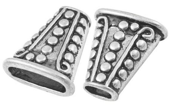 10 Bead Cones, Antiqued Silver Metal Pewter  18mm long . bme0276