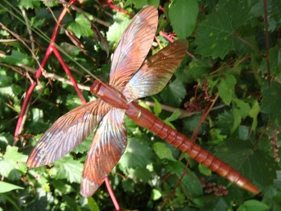 carved wood cedar and copper dragonfly