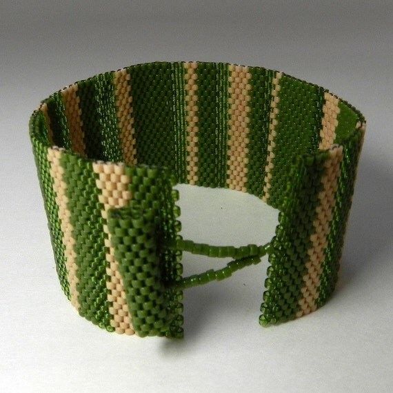 Green Peyote Bracelet, Olive, Tan Stripe, Colorblocked, Beadwoven Bracelet