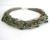 Green beaded multristrand necklace, natural linen hemp necklace, eco jewelry, indie necklace