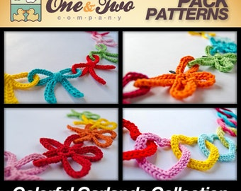 Combo Pack - 4 Colorful Garlands  for 10.99 Dollars - PDF Crochet Pattern PHOTOTUTORIAL - Instant Download - Ornament Christmas Garlands