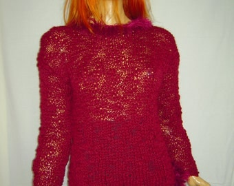 sweater/jumper in burgundy mixed alpaca wool handmade knitted winter warm gift idea for her loose fit ready to ship by goldenyarn