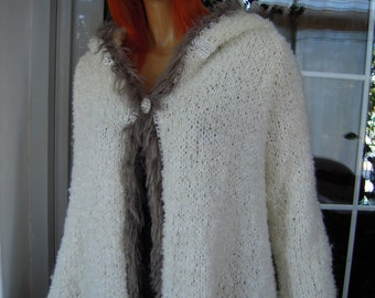 jacket coat handmade knitted hoodie sweater/ cardigan in ivory merino with faux fur/winter warm ready to ship size M,L by golden yarn