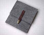 iPad Sleeve, iPad Case, iPad Clutch, iPad Cover, iPad Bag - grey felt briefcase features clasp with burgundy color leather strap