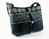 Charcoal gray felted wool purse or small tote (OOAK) from upcycled fair isle sweater.
