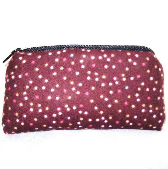 Brown & Polka Dots Flannel Padded Pipe Pouch 5.5""