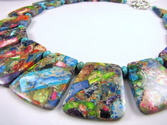 rainbow jasper nuggets giant chunky gemstone choker necklace