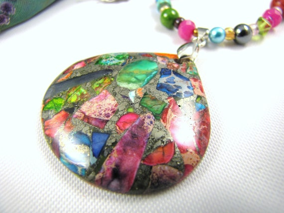 multi gems and rainbow jasper statement gemstone necklace