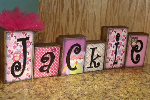 Personalized Little Girl Name Blocks - Loft Blocks - Great Addition to Owls, Princess n Frog - Paisley, Pinks, Purples, Greens