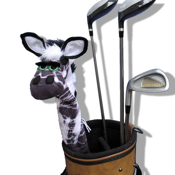 "Couture ""Sock Puppet"" Style Tie Dye Zebra Golf Club Cover."