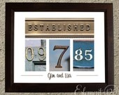Wedding Date Number Art  - Colored 11x14 UNFRAMED Print - Wedding or Anniversary Gift