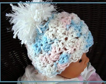 Instant Download PDF Crochet Pattern - Shell Stitch Hat, SPP66 newborn to adult