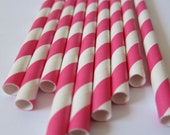 25 Pink and White Striped Paper Straws- Barber Pole Drinking Straws/ Vintage Party Flair/ Paper Drinking Straws/ Wedding