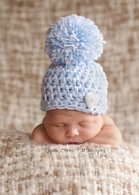 Newborn Pom Pom Hat Blue And White Pom Pom Hat Hat With