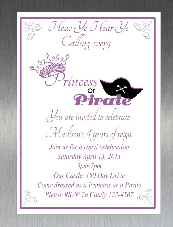 Items similar to Printable DIY Princess and Pirate Party – Princess and Pirates Party Invitations