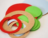 Sale New Christmas Colors Confetti Rings and Circles 18 Pieces