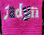 Applique Name Towel Personalized Bath Towel Great Gift for Kids Bridesmaid Graduation Hostess Christmas