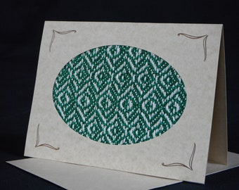 Handwoven Note Card Green (C136)