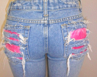 OOAK  Distressed Low Rise Jeans  Studded--Hot Pink Tie Dye & Safety Pins Sz 7
