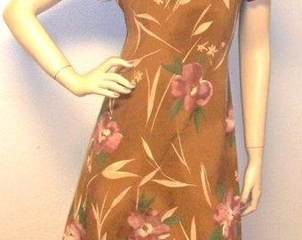 Vintage 90's Grunge Brown Flower Print Mini Dress - Sz M