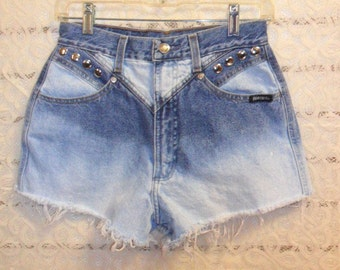 VTG Rocky Mountain High Waisted  Bleached & Studded denim shorts-- -Waist 27 inch