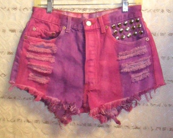 Vintage Levis  High Waisted Hot Pink & Purple Denim Shorts - Studded--Waist 29   inches