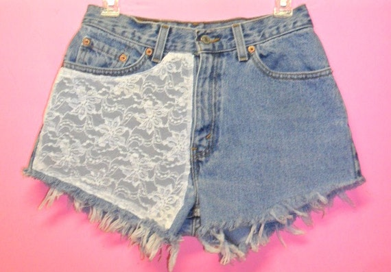 Vintage Levis  High Waisted denim shorts -----with Lace ---Waist   28   inches
