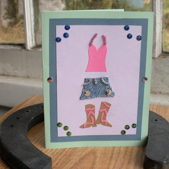 Western Girly Outfit Blank Greeting Card CLEARANCE