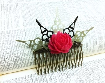 50% SALE Amaranth Princess Rose Clock Hand Comb Fantasy mythology inspired jewelry Vintage victorian steampunk gothic style