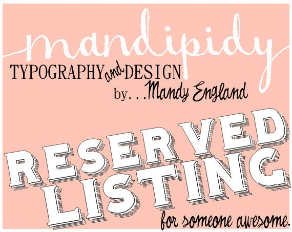 RESERVED LISTING - Reserved for Nicole