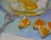 "Breakfast Food ""Eggs and Oranges"" 8"" x 8"" oil on gessobord"